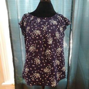 Lauren Conrad Floral Tie in Back Blouse Size M